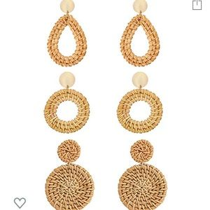 Jewelry - 4 pairs of Rattan and gold earrings - never worn